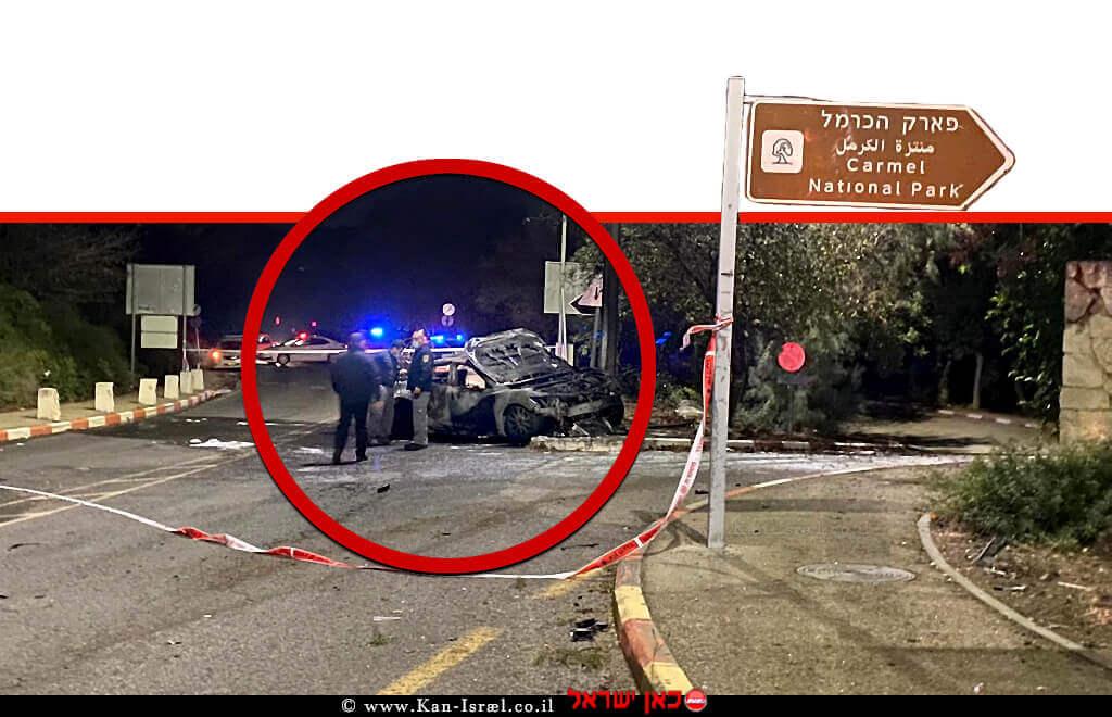 תוצאות תאונת דרכים עצמית בה פגע בעמוד תאורה סמוך לאוניברסיטת חיפה במהלכה נמצאה גופת גבר ליד הרכב | צילום: דוברות המשטרה | עיבוד: שולי סונגו ©