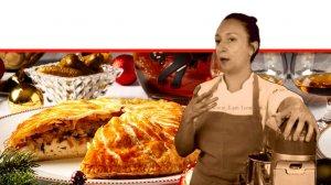 שף סבינה ולדמן ברקע: פירוג בצק עלים עם עופיונים, כרוב ופורצ'יני לארוחת נוביגוד | צלם: בן יוסטר | סטיילינג דלית רוסו | עיבוד צילום: שולי סונגו ©