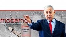 בנימין נתניהו ראש ממשלת ישראל ברקע: חיסון חב' מודרנה נגד נגיף הקורונה | עיבוד צילום: שולי סונגו ©