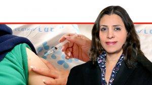 דר' אביבית פאר מנהלת היחידה למחקרים קליניים באגף המחקר של רמבם ברקע: מתנדב שהגיע לקבל החיסון נגד קורונה של המכון הביולוגי נס ציונה - ברמבם| צילום: הקריה הרפואית רמבם | עיבוד צילום: שולי סונגו ©