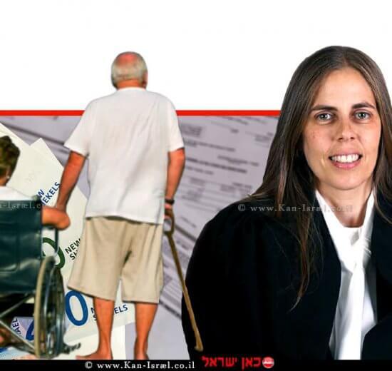 כב' השופטת ג'ויה סקפה שפירא ברקע: זוג קשישים, שטרות כסף, הדמייה| עיבוד צילום: שולי סונגו ©