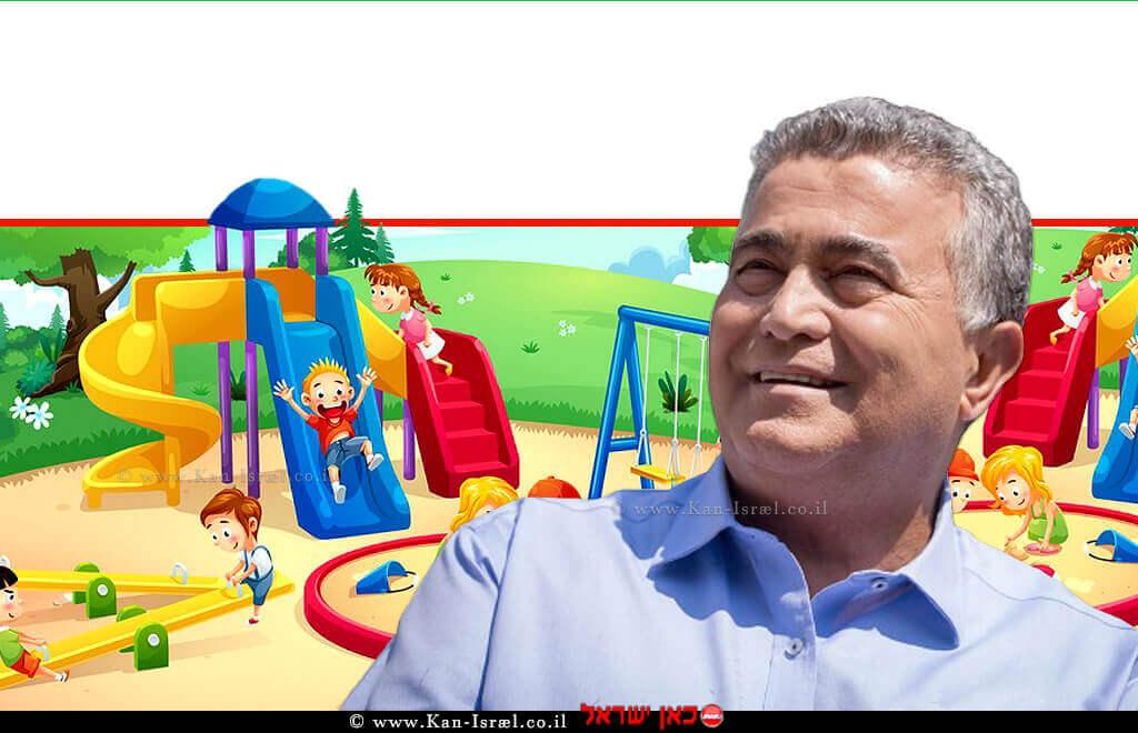 עמיר פרץ, שר הכלכלה והתעשייה ברקע: מגרש משחקים לילדים, צילום: שר הכלכלה | עיבוד צילום: שולי סונגו ©