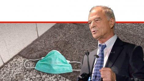 עורך דין אוריאל לין, נשיא איגוד לשכות המסחר ברקע: מסיכה נגד וירוס הקורונה | עיבוד צילום: שולי סונגו ©