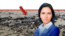 השרה להגנת הסביבה גילה גמליאל ברקע: זפת בחוף חדרה שנתגלה למפקחי היחידה הימית של המשרד צילום: דוברות |עיבוד צילום: שולי סונגו ©