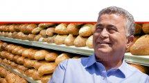 שר הכלכלה והתעשייה, עמיר פרץ, ברקע: כיכרות לחם על המדפים   צילום: Stock Image & Photo   עיבוד צילום: שולי סונגו ©
