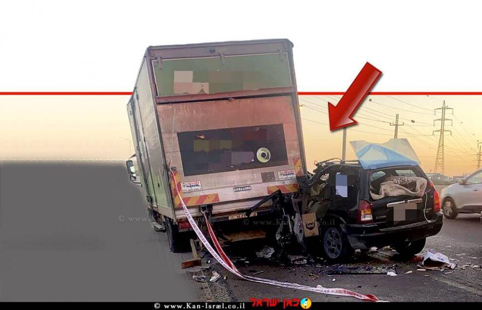 רכב תושב באר שבע בן ה-39 שהתנגש במשאית בכביש 25 בצומת שרה -באר שבע וגרם ל'המתה בקלות דעת'  צילום: דוברות המשטרה   עיבוד ממחושב: שולי סונגו©
