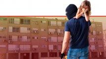 פדופיל נושא עימו ילדה, ברקע: בניין דירות משותף בצפון הארץ, אילוסטרציה | צילום רקע: דוברות עיריית חיפה | עיבוד ממחושב: שולי סונגו©