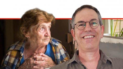 פרופ' יובל פלגי מאוניברסיטת חיפה, ברקע: קשישה בודדה, הדמייה | עיבוד ממחושב: שולי סונגו©