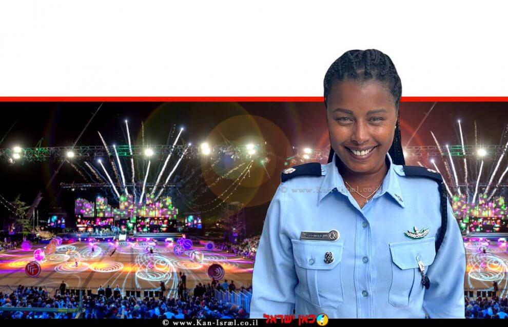 רב פקד עדן טפט הבטינש שתשיא משואת משטרת ישראל בערב יום העצמאות ה-73 למדינת ישראל | צילום: דוברות המשטרה | עיבוד צילום: שולי סונגו ©
