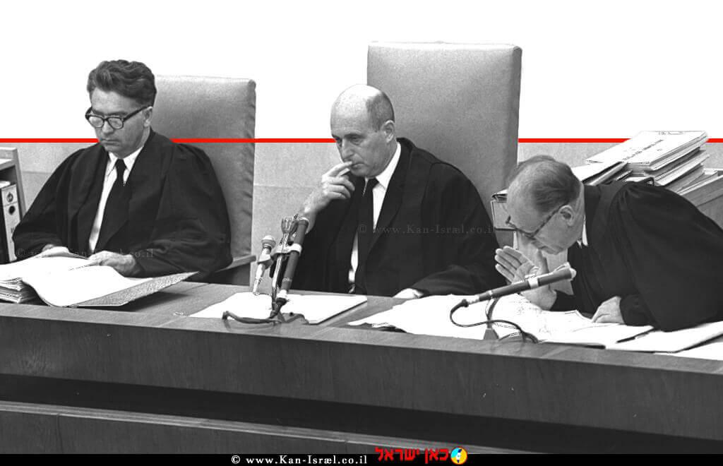 משפט אייכמן, שופטי המשפט של אדולף אייכמן (משמאל לימין) בנימין הלוי, משה לנדאו ויצחק רווה | צילום: לעמ | עיבוד ממחושב: שולי סונגו©