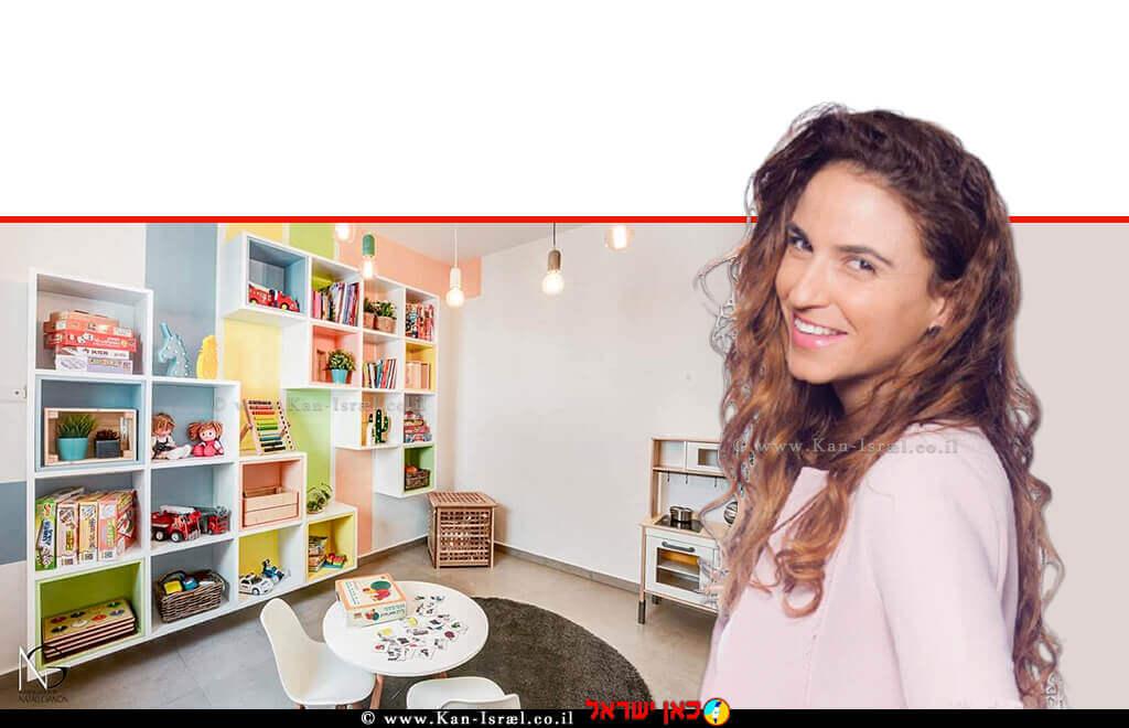 נטלי גנון מעצבת פנים, בוגרת MBA בעלת סטודיו לתכנון ועיצוב פנים תוך התמחות בפנטהאוזים ובתים פרטיים ברקע: עיצוב ממד - מרחב מוגן דירתי | באדיבות אלוני | צילום: מאור מויאל | עיבוד צילום: שולי סונגו ©