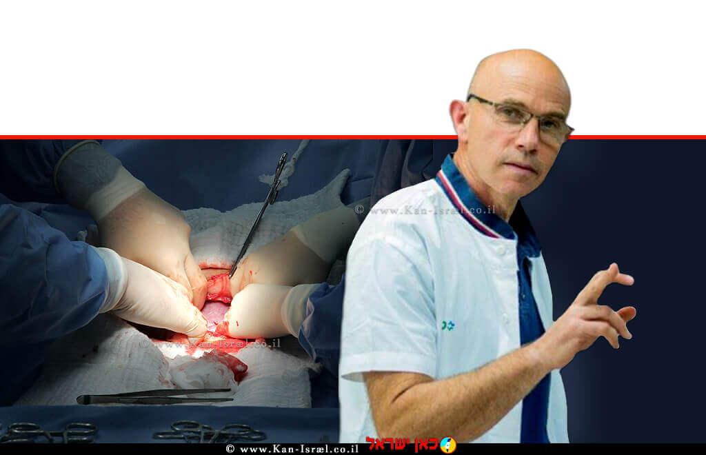 פרופ׳ אלון בן אריה מנהל חטיבת הנשים ויולדות במרכז הרפואי קפלן, ברקע: ניתוח קיסרי | עיבוד צילום: שולי סונגו ©
