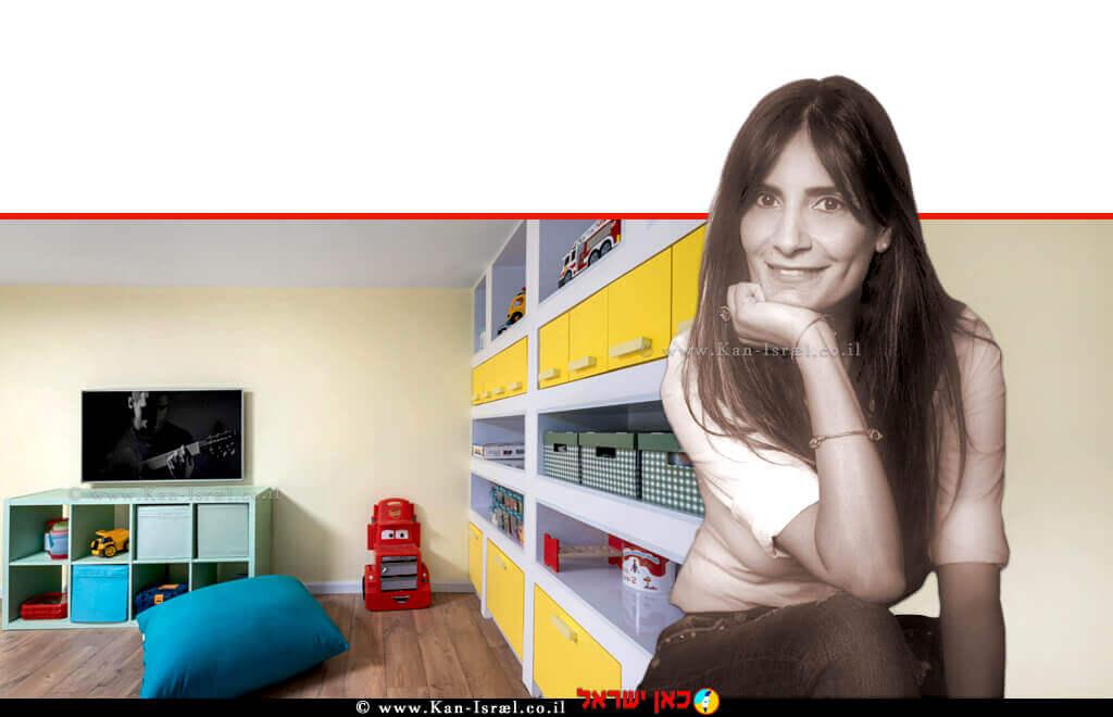 סיגל מלכה מעצבת פנים, בעלת תואר שני (M.A) מתמחה בתכנון ולווי פרוייקטים פרטיים ומסחריים ברקע: עיצוב ממד - מרחב מוגן דירתי | באדיבות אלוני | צילום: מאור מויאל | עיבוד צילום: שולי סונגו ©