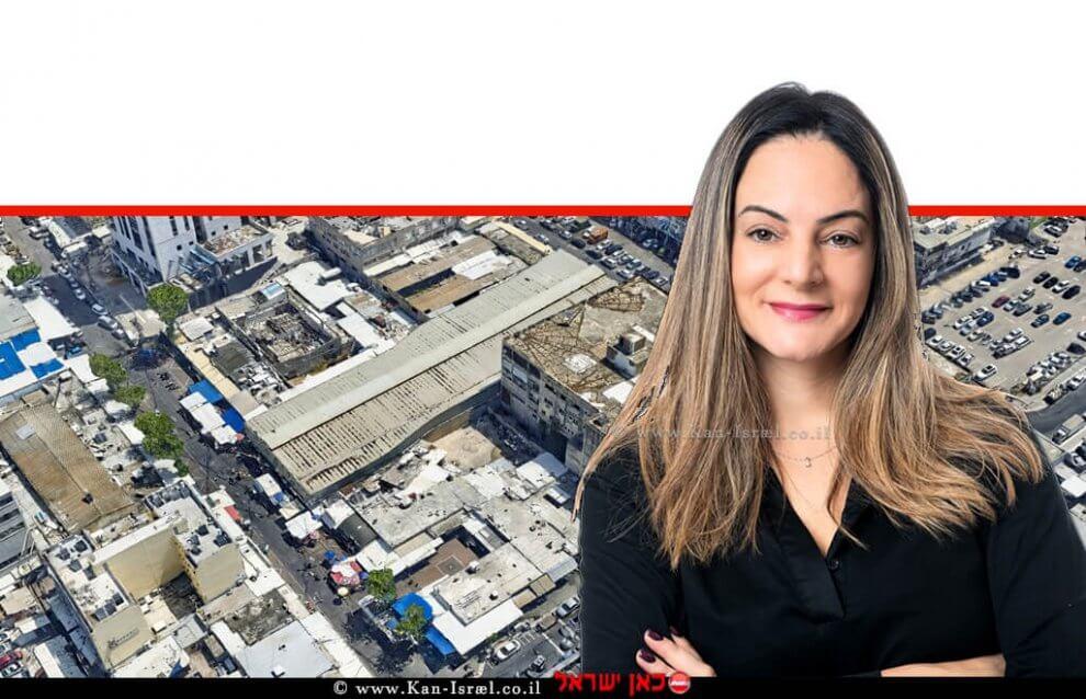 טלי שרון, סמנכלית שיווק ומכירות, קבוצת רם אדרת ברקע: מתחם השוק בנתניה   צילום: סימפלקס   צילום יוהנס פלטן   עיבוד ממחושב: שולי סונגו©