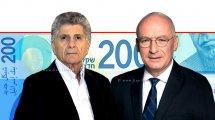 יאיר אבידן המפקח על הבנקים של בנק ישראל, יושב ראש 'תנועת אומץ' מר פליצ׳ה פלד ברקע: שטר 200 ₪ | עיבוד ממחושב: שולי סונגו©