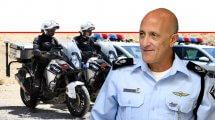 ניצב אלון אריה ראש אגף התנועה של משטרת ישראל ברקע: אופנוענים של אגף התנועה   צילום: דוברות המשטרה  עיבוד צילום: שולי סונגו ©