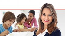 דר' יפעת שאשא-ביטון שרת החינוך, ברקע: אמא שעוזרת לילדים עם שיעורי בית   צילום רקע: Depositphotos  עיבוד צילום: שולי סונגו ©