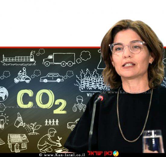 תמר זנדברג השרה להגנת הסביבה, ברקע: כלכלה דלת פחמן יעילות אנרגטית עם דרך ירוקה ברקע איור: גורם Co2 פתרון הפחתת פחמן | צילום: המכון הישראלי לדמוקרטיה | צילום רקע: Depositphotos |עיבוד צילום: שולי סונגו ©