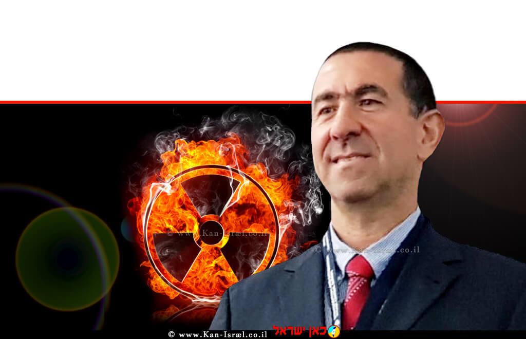 דר' אלוף משנה (מיל') אורי נסים לוי, מומחה וחוקר ב'הגנה גרעינית' ויושב ראש הפורום הגרעיני WNF-193 ברקע: רדיואקטיבי   צילום רקע: Depositphotos   עיבוד צילום: שולי סונגו ©