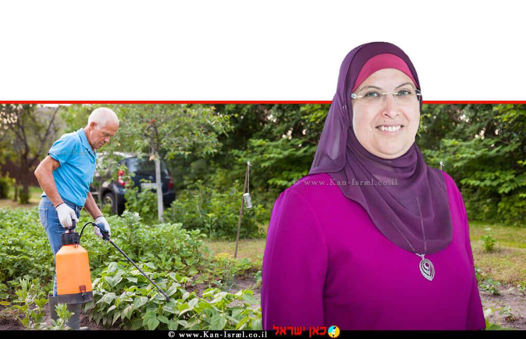 דר' לילא שיני חג'-יחיא, מנהלת אגף כימיה ותכשירי הדברה בשירותים להגנת הצומח ולביקורת במשרד החקלאות ברקע: מַדְבִּיר  עיבוד צילום: שולי סונגו ©