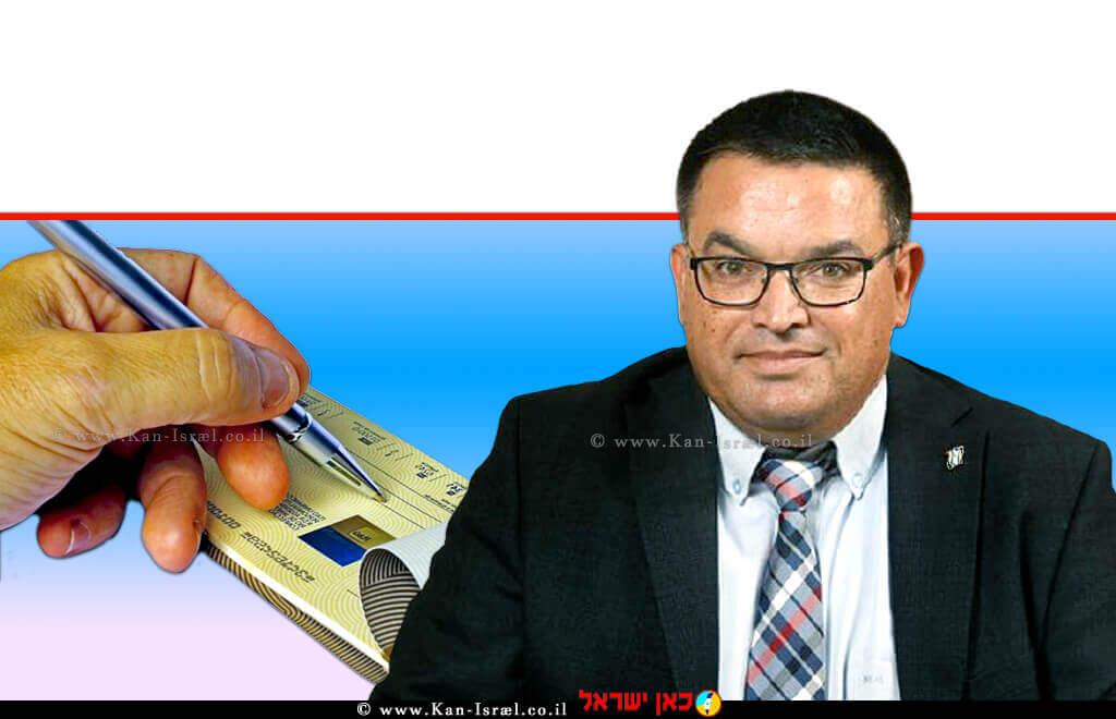 חבר כנסת מיכאל ביטון (סיעת כחול לבן) יושב ראש 'ועדת הכלכלה של הכנסת' ברקע: סליקה אלקטרונית של שיקים  עיבוד צילום: שולי סונגו ©
