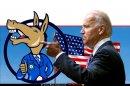 ג'ו ביידן נשיא ארצות הברית מצביע על סמל המפלגה הדמוקרטית ברקע: דגל ארצות הברית   צילום רקע: Depositphotos   עיבוד צילום: שולי סונגו ©