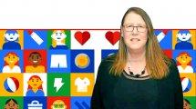 רונה קוטלר בן ארויה, מנהלת מטה כחול-לבן ברקע: מתחם כחול-לבן ב-ShoppingIL של Google | עיבוד צילום: שולי סונגו ©