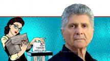פנחס (פליצ׳ה) פלד יושב ראש עמותת תנועת אומץ, ברקע: מזכירה עם מגרסת נייר גורסת מסמך סודי ביותר הורס | איור רקע: Depositphotos | עיבוד צילום: שולי סונגו ©